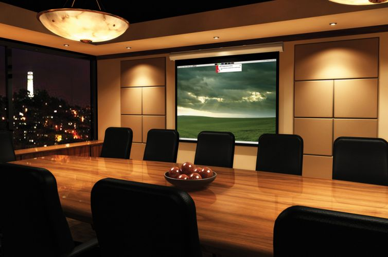 Boardroom Recessed Screen and Projector, Dallas, TX